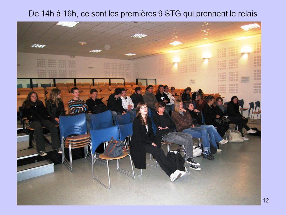 12 De 14h à 16h, ce sont les premières 9 STG qui prennent le relais