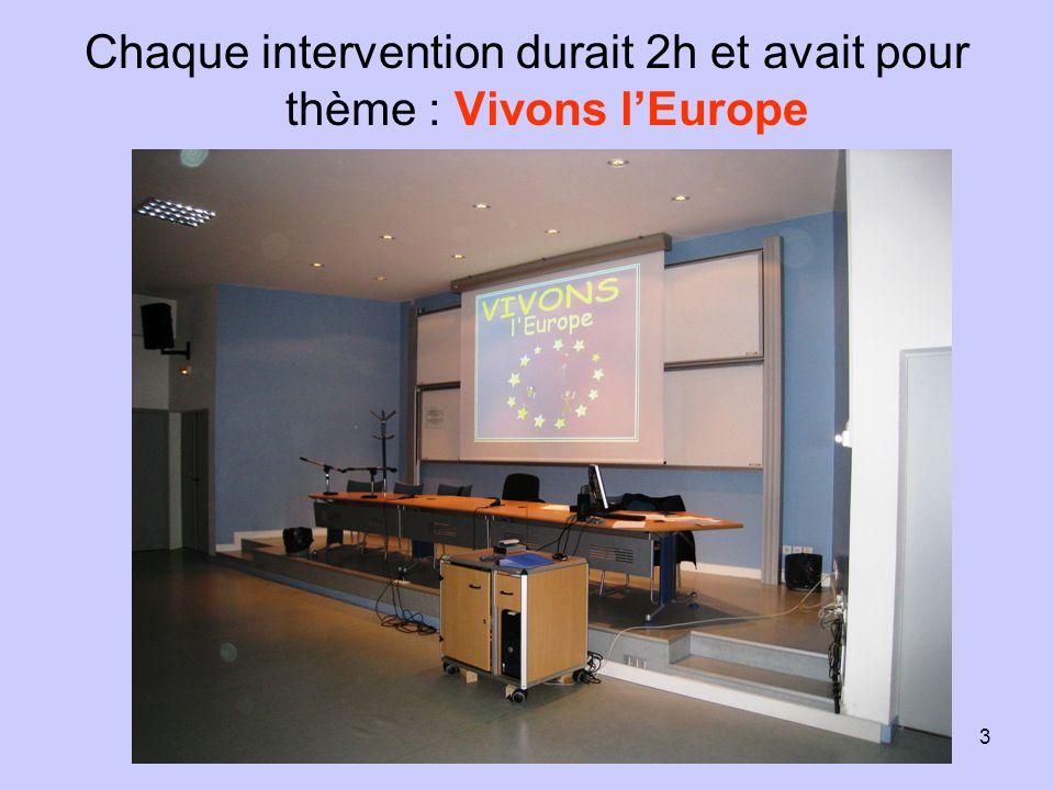 3 Chaque intervention durait 2h et avait pour thème : Vivons lEurope
