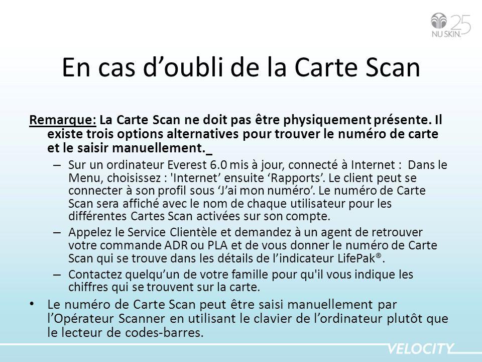 En cas doubli de la Carte Scan Remarque: La Carte Scan ne doit pas être physiquement présente. Il existe trois options alternatives pour trouver le nu