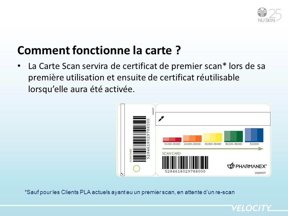 Comment fonctionne la carte ? La Carte Scan servira de certificat de premier scan* lors de sa première utilisation et ensuite de certificat réutilisab