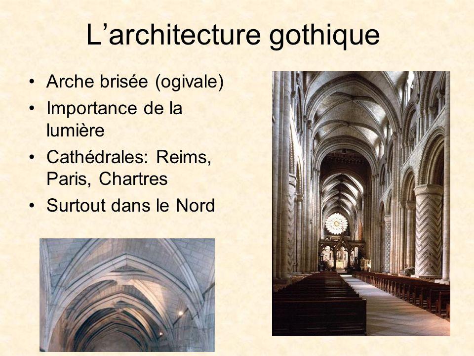 Larchitecture gothique Arche brisée (ogivale) Importance de la lumière Cathédrales: Reims, Paris, Chartres Surtout dans le Nord