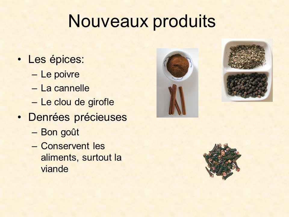 Nouveaux produits Les épices: –Le poivre –La cannelle –Le clou de girofle Denrées précieuses –Bon goût –Conservent les aliments, surtout la viande