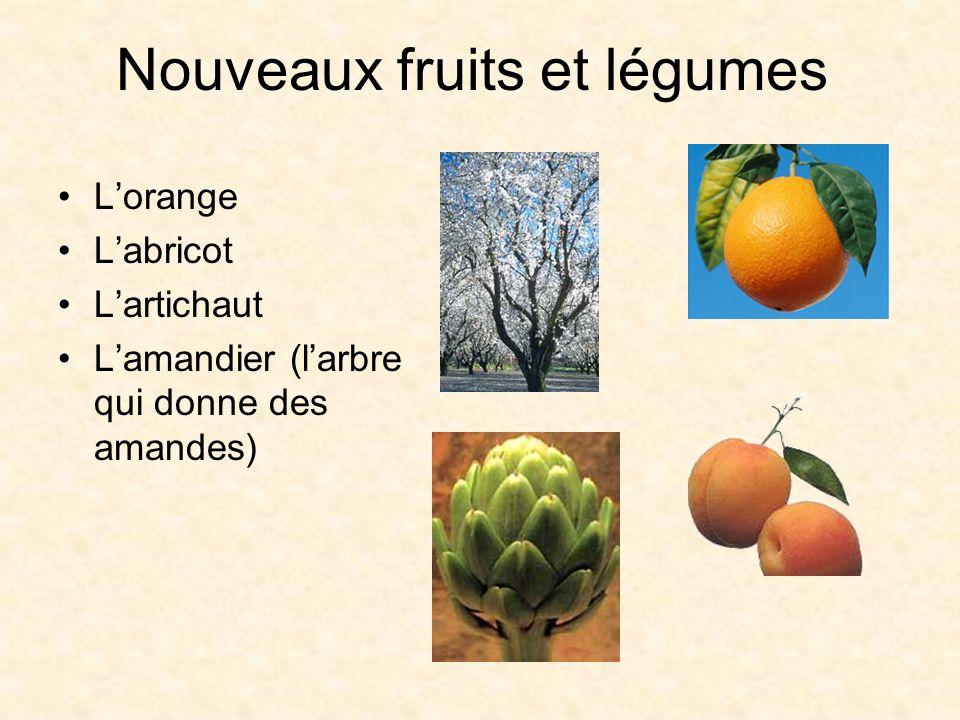 Nouveaux fruits et légumes Lorange Labricot Lartichaut Lamandier (larbre qui donne des amandes)