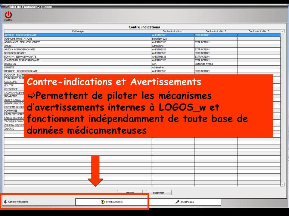 Contre-indications et Avertissements Permettent de piloter les mécanismes davertissements internes à LOGOS_w et fonctionnent indépendamment de toute base de données médicamenteuses