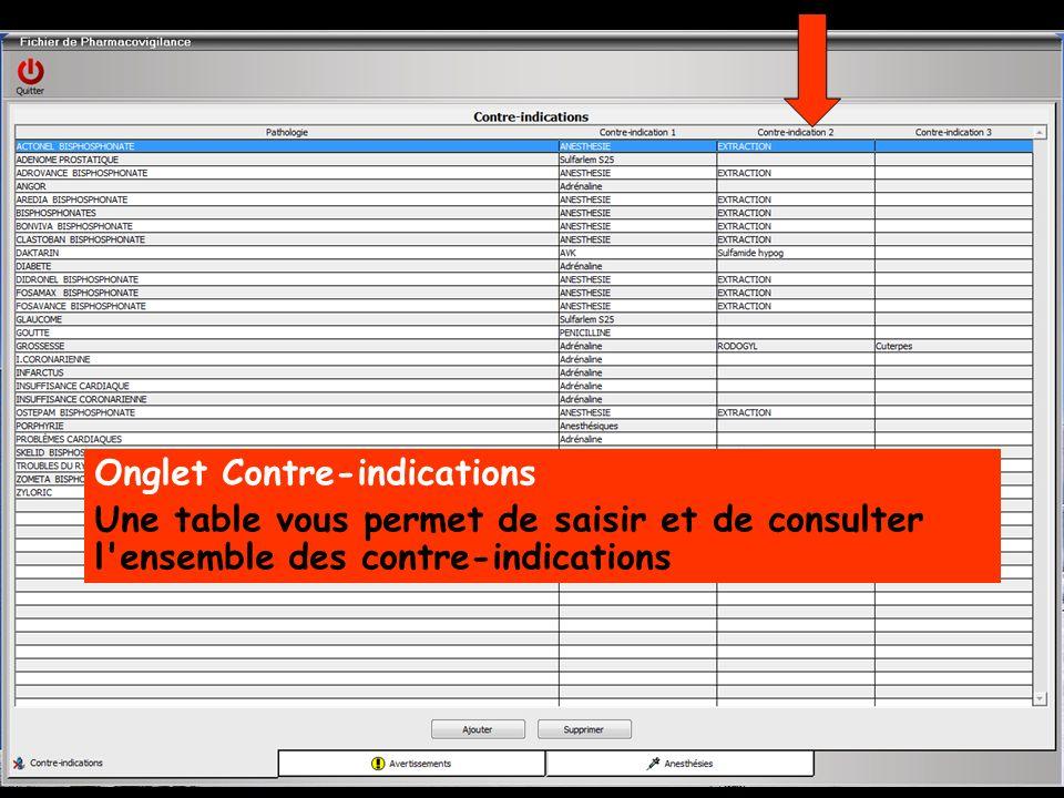 Onglet Contre-indications Une table vous permet de saisir et de consulter l ensemble des contre-indications