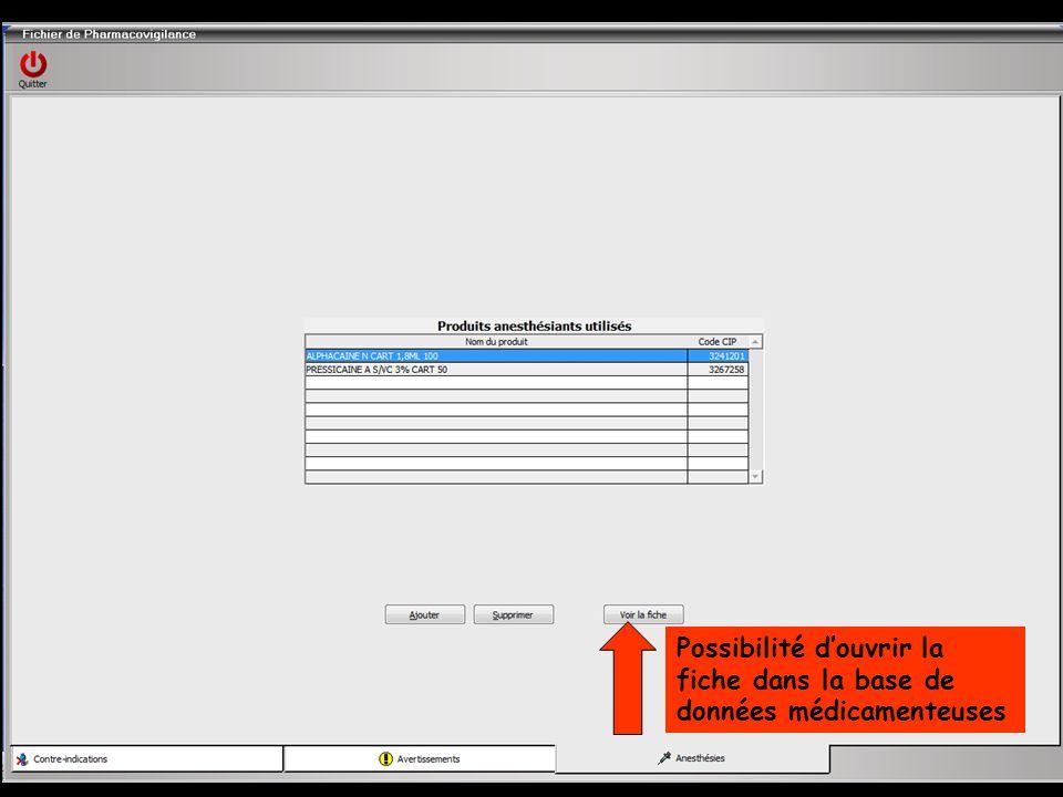 Possibilité douvrir la fiche dans la base de données médicamenteuses