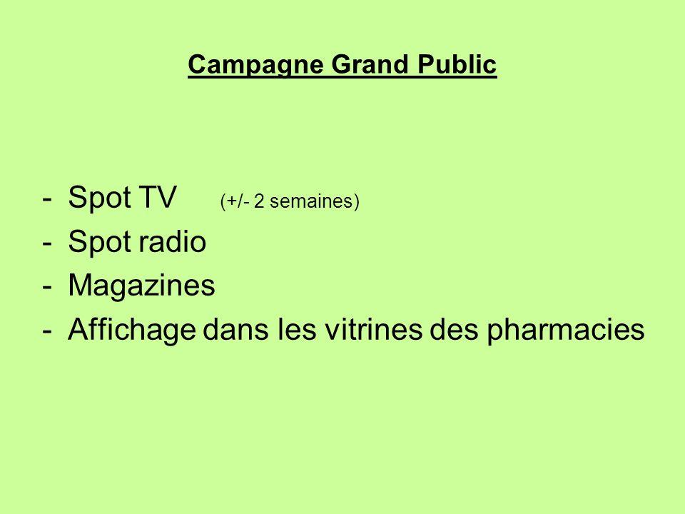 Campagne Grand Public -Spot TV (+/- 2 semaines) -Spot radio -Magazines -Affichage dans les vitrines des pharmacies