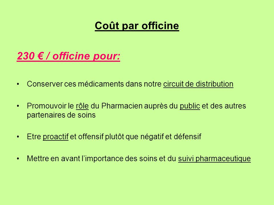 Coût par officine 230 / officine pour: Conserver ces médicaments dans notre circuit de distribution Promouvoir le rôle du Pharmacien auprès du public