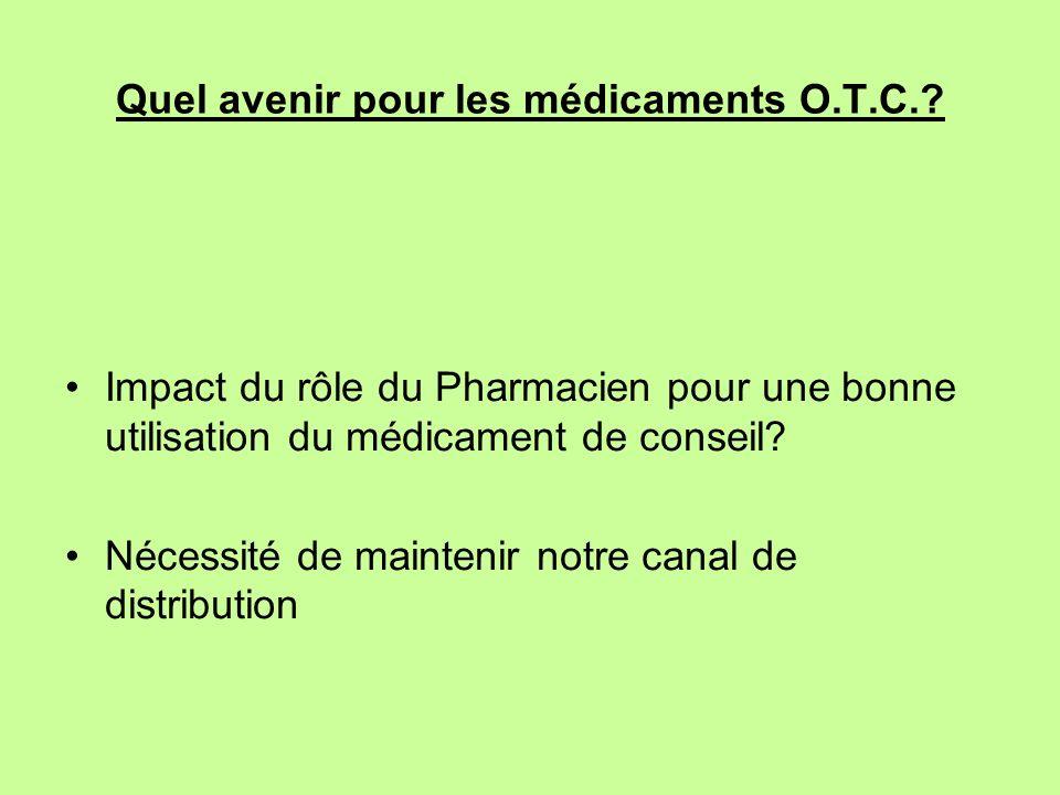 Quel avenir pour les médicaments O.T.C.? Impact du rôle du Pharmacien pour une bonne utilisation du médicament de conseil? Nécessité de maintenir notr