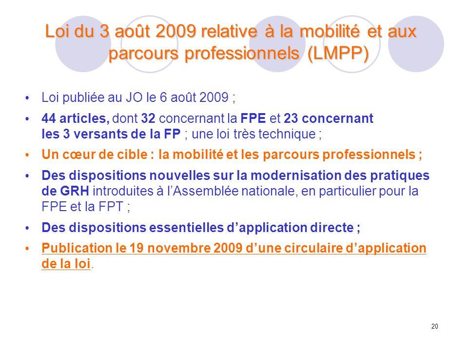 20 Loi du 3 août 2009 relative à la mobilité et aux parcours professionnels (LMPP) Loi publiée au JO le 6 août 2009 ; 44 articles, dont 32 concernant