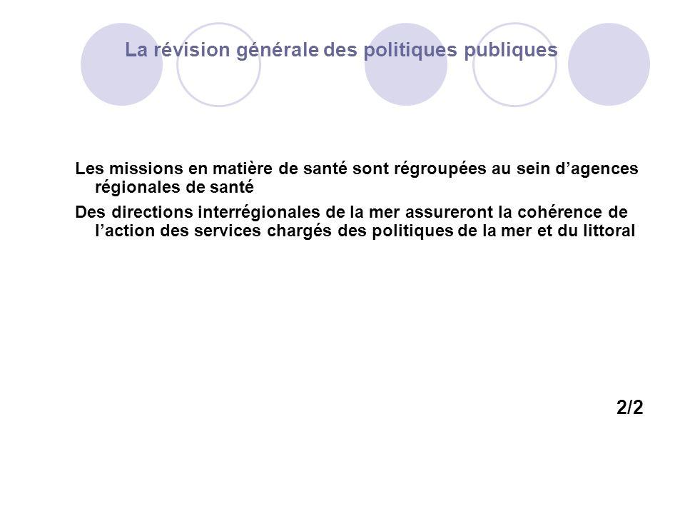 La révision générale des politiques publiques Les missions en matière de santé sont régroupées au sein dagences régionales de santé Des directions int