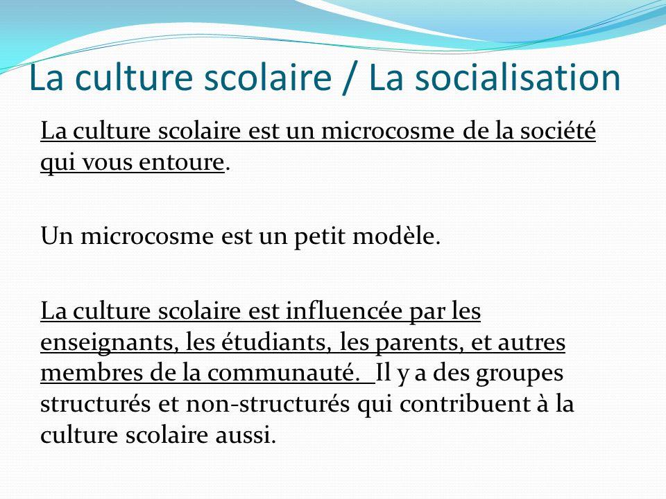 La culture scolaire / La socialisation La culture scolaire est un microcosme de la société qui vous entoure. Un microcosme est un petit modèle. La cul