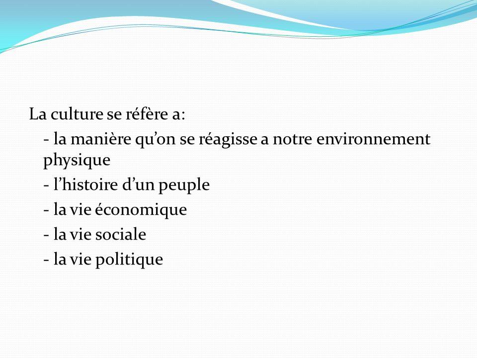 La culture se réfère a: - la manière quon se réagisse a notre environnement physique - lhistoire dun peuple - la vie économique - la vie sociale - la