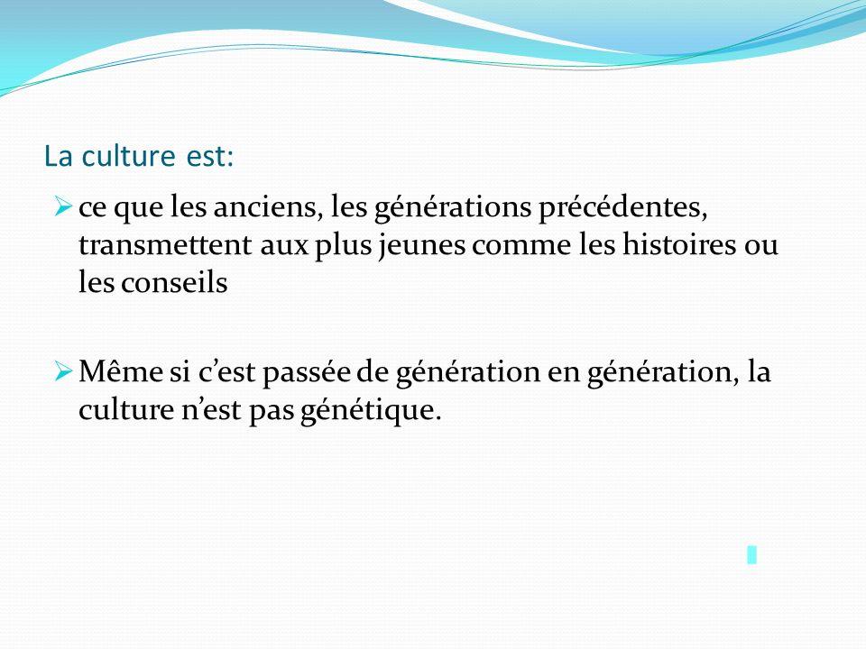 La culture est: ce que les anciens, les générations précédentes, transmettent aux plus jeunes comme les histoires ou les conseils Même si cest passée