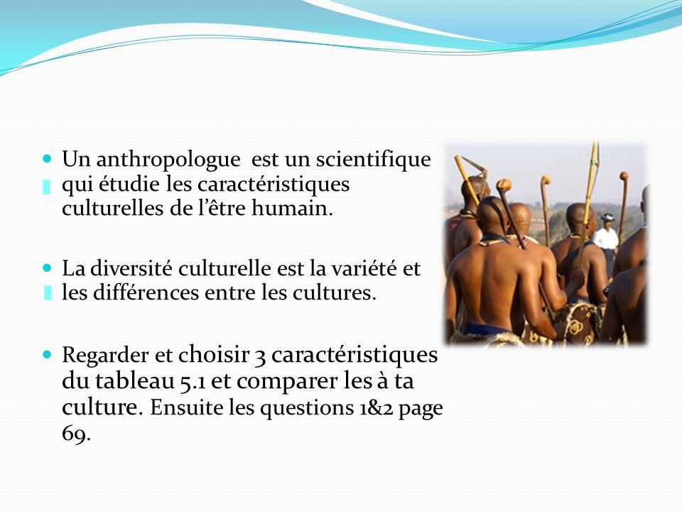 Un anthropologue est un scientifique qui étudie les caractéristiques culturelles de lêtre humain. La diversité culturelle est la variété et les différ