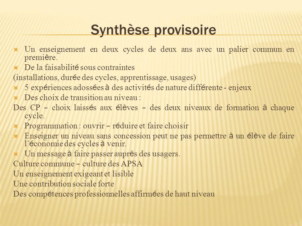 Synthèse provisoire Un enseignement en deux cycles de deux ans avec un palier commun en premi è re.