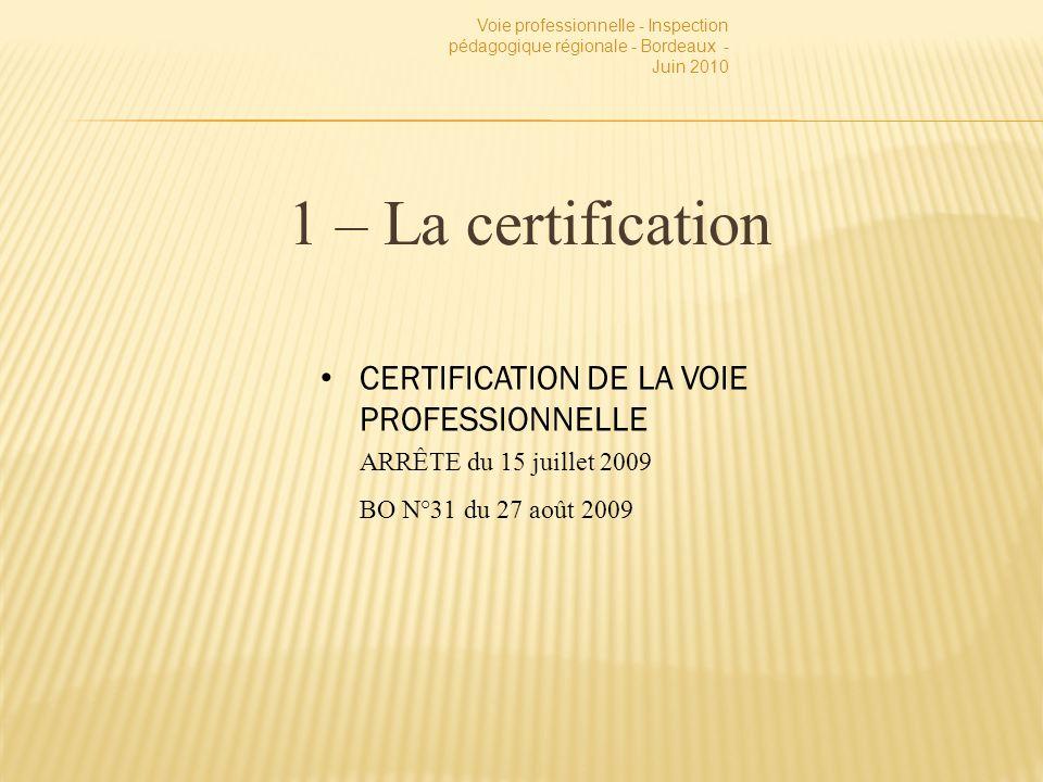 1 – La certification Voie professionnelle - Inspection pédagogique régionale - Bordeaux - Juin 2010 CERTIFICATION DE LA VOIE PROFESSIONNELLE ARRÊTE du 15 juillet 2009 BO N°31 du 27 août 2009