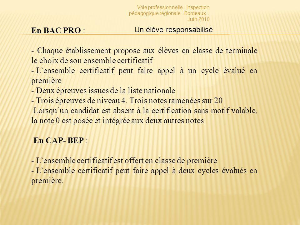 Voie professionnelle - Inspection pédagogique régionale - Bordeaux - Juin 2010 En BAC PRO : - Chaque établissement propose aux élèves en classe de terminale le choix de son ensemble certificatif - Lensemble certificatif peut faire appel à un cycle évalué en première - Deux épreuves issues de la liste nationale - Trois épreuves de niveau 4.
