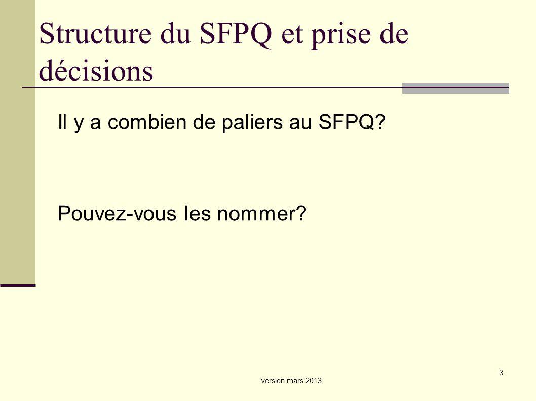 3 Structure du SFPQ et prise de décisions Il y a combien de paliers au SFPQ.