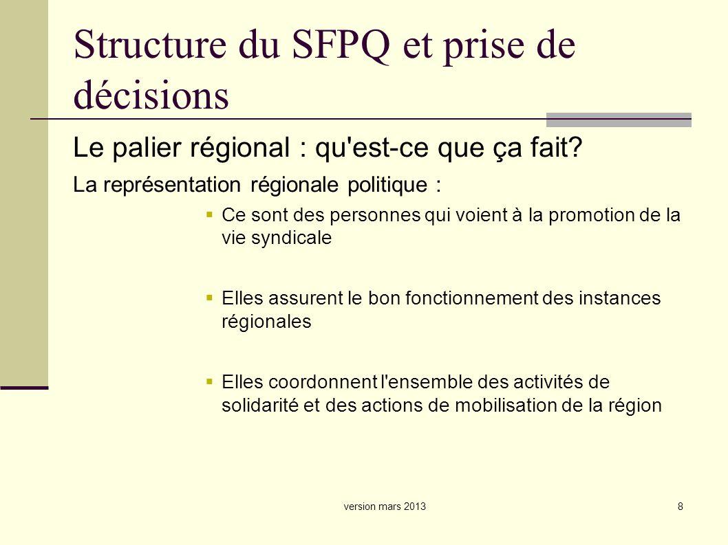 8 Structure du SFPQ et prise de décisions Le palier régional : qu est-ce que ça fait.