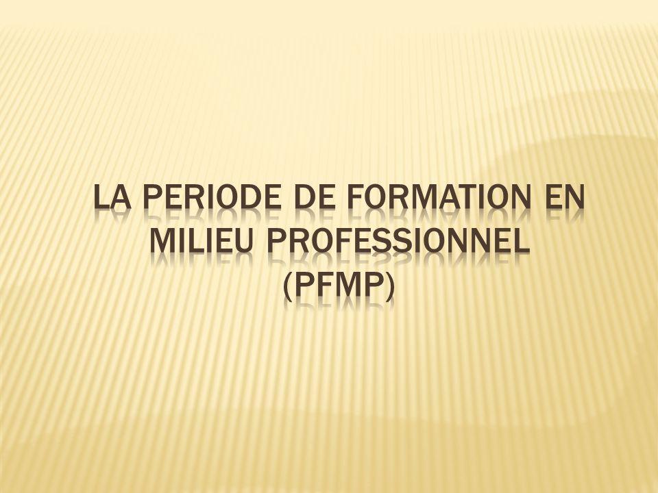 Durée 22 semaines soit 770 heures incluant les six semaines nécessaires à la validation du diplôme de niveau V (certification intermédiaire ) 22 semaines soit 770 heures incluant les six semaines nécessaires à la validation du diplôme de niveau V (certification intermédiaire ) Répartition annuelle Relève de lautonomie des établissements Contraintes La durée de la PFMP ne peut être partagée en plus de 6 périodes La durée de chaque période ne peut être inférieure à 3 semaines Le calendrier de la PFMP doit tenir compte de la certification intermédiaire La durée de la PFMP ne peut être partagée en plus de 6 périodes La durée de chaque période ne peut être inférieure à 3 semaines Le calendrier de la PFMP doit tenir compte de la certification intermédiaire