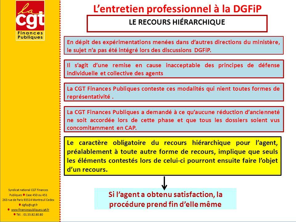 Lentretien professionnel à la DGFiP Le caractère obligatoire du recours hiérarchique pour lagent, préalablement à toute autre forme de recours, impliq
