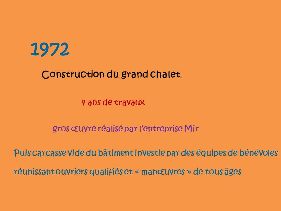 1972 Construction du grand chalet. 4 ans de travaux gros œuvre réalisé par lentreprise Mir Puis carcasse vide du bâtiment investie par des équipes de