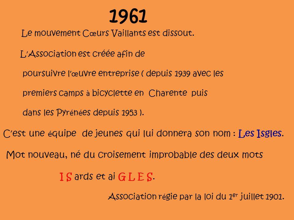 1961 Le mouvement C œ urs Vaillants est dissout. L Association est créée afin de poursuivre l œ uvre entreprise ( depuis 1939 avec les premiers camps