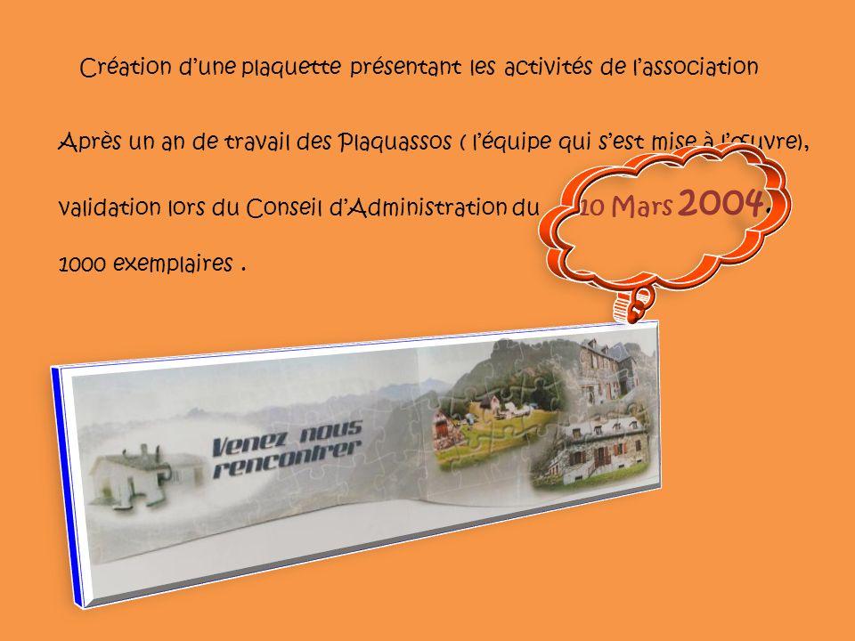 Création dune plaquette présentant les activités de lassociation Après un an de travail des Plaquassos ( léquipe qui sest mise à lœuvre), validation lors du Conseil dAdministration du 10 Mars 2004.