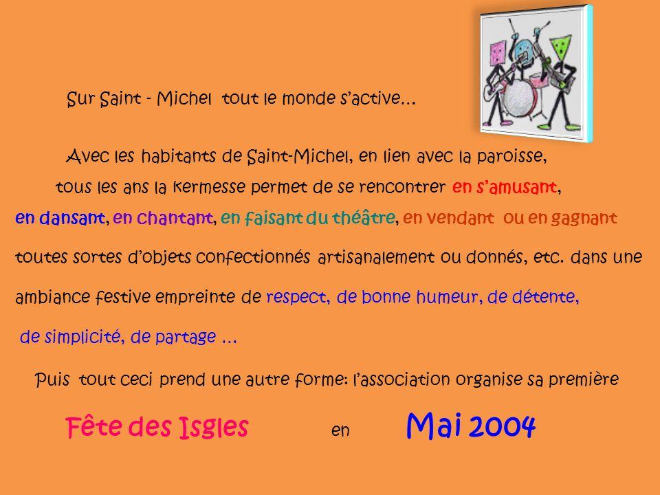 Sur Saint - Michel tout le monde sactive… tous les ans la kermesse permet de se rencontrer en samusant, en dansant, en chantant, en faisant du théâtre, en vendant ou en gagnant toutes sortes dobjets confectionnés artisanalement ou donnés, etc.