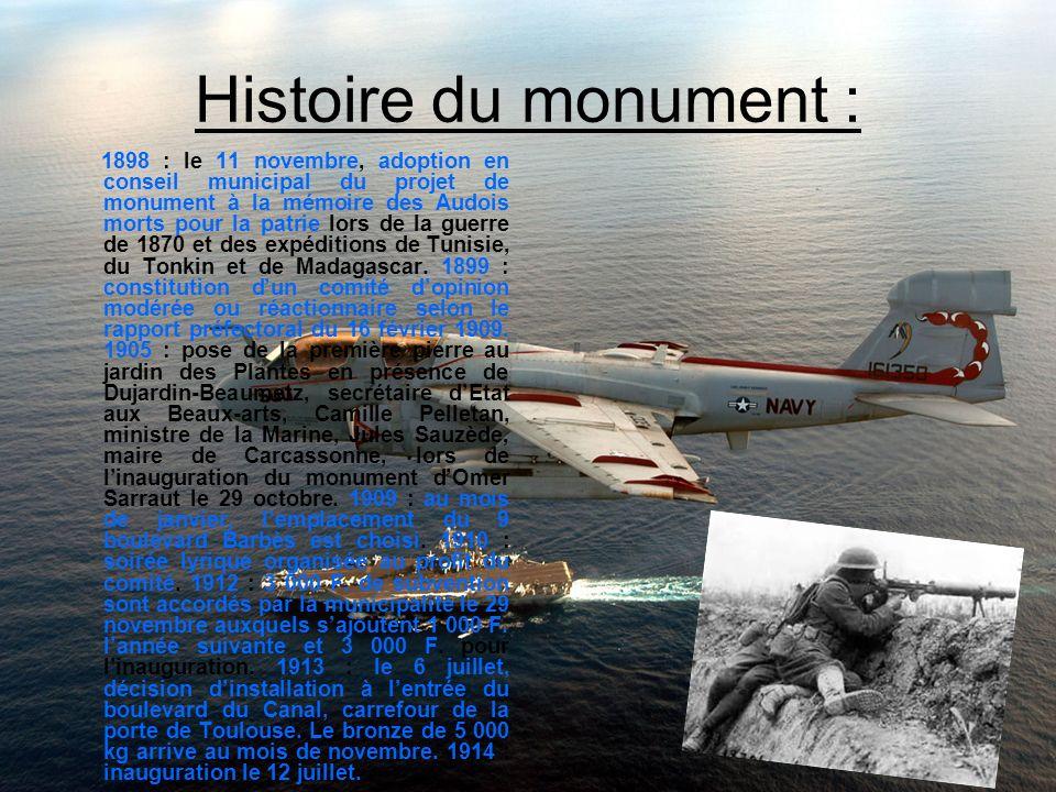Histoire du monument : 1898 : le 11 novembre, adoption en conseil municipal du projet de monument à la mémoire des Audois morts pour la patrie lors de