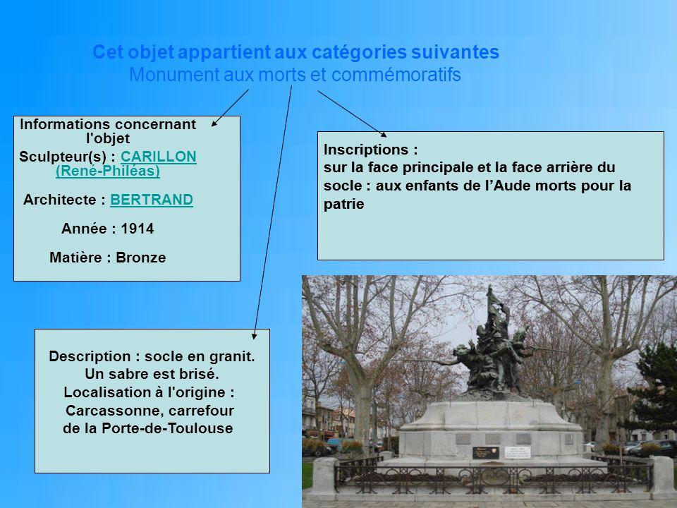 Cet objet appartient aux catégories suivantes Monument aux morts et commémoratifs Informations concernant l'objet Sculpteur(s) : CARILLON (René-Philéa