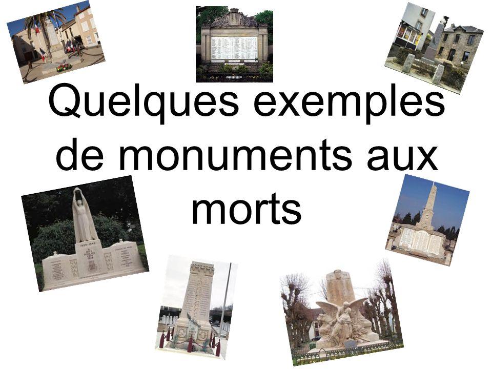 Quelques exemples de monuments aux morts