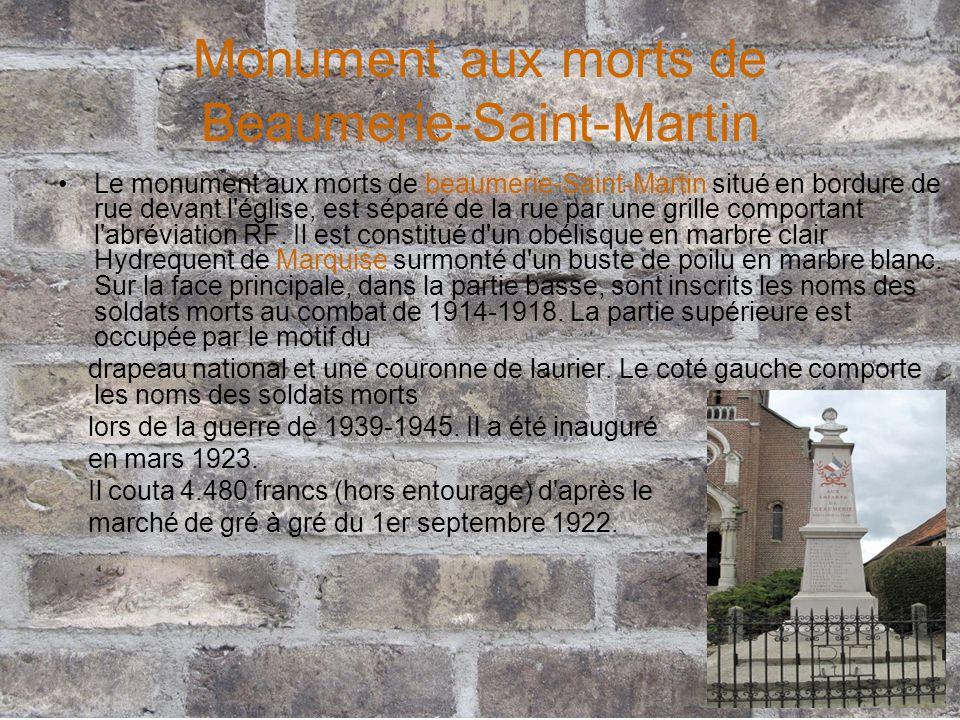 Monument aux morts de Beaumerie-Saint-Martin Le monument aux morts de beaumerie-Saint-Martin situé en bordure de rue devant l'église, est séparé de la