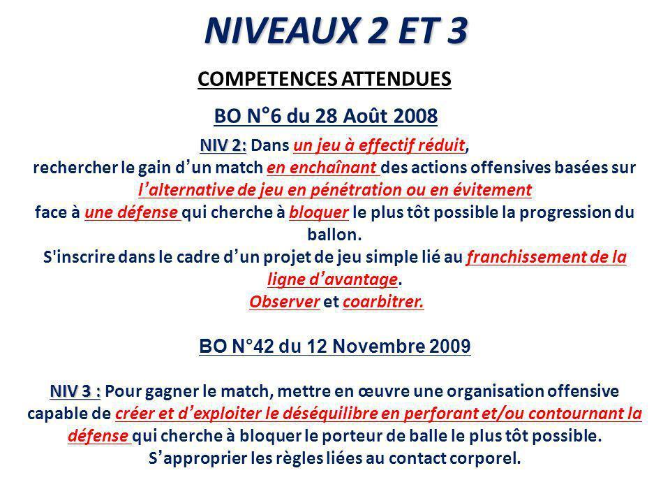 COMPETENCES ATTENDUES NIV 2: NIV 2: Dans un jeu à effectif réduit, rechercher le gain dun match en enchaînant des actions offensives basées sur lalter