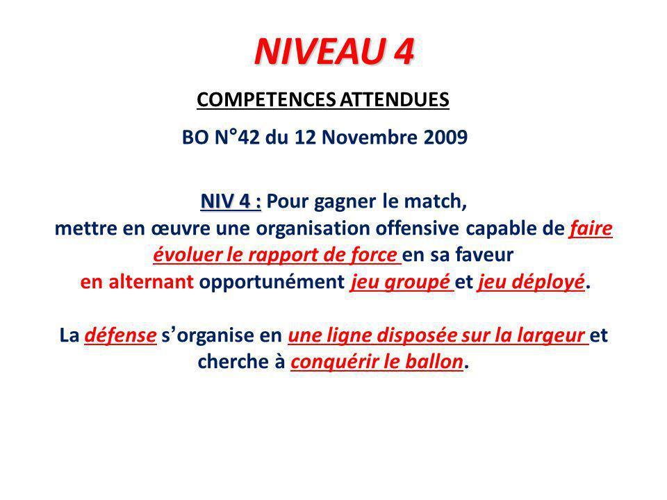 COMPETENCES ATTENDUES NIV 4 : NIV 4 : Pour gagner le match, mettre en œuvre une organisation offensive capable de faire évoluer le rapport de force en