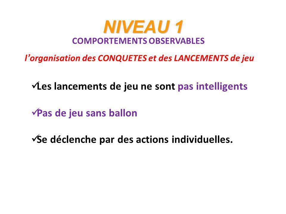 NIVEAU 1 COMPORTEMENTS OBSERVABLES lorganisation des CONQUETES et des LANCEMENTS de jeu Les lancements de jeu ne sont pas intelligents Pas de jeu sans