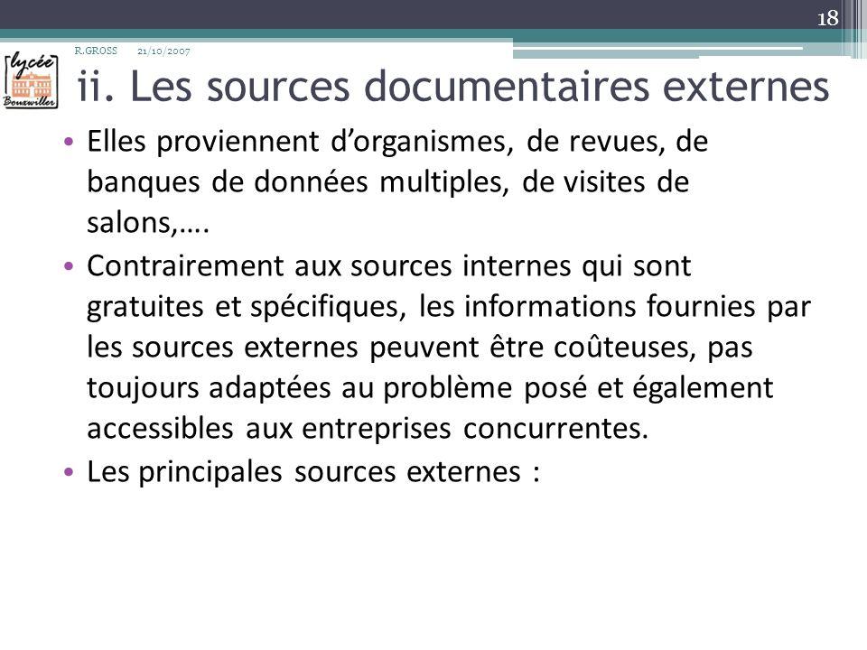ii. Les sources documentaires externes Elles proviennent dorganismes, de revues, de banques de données multiples, de visites de salons,…. Contrairemen