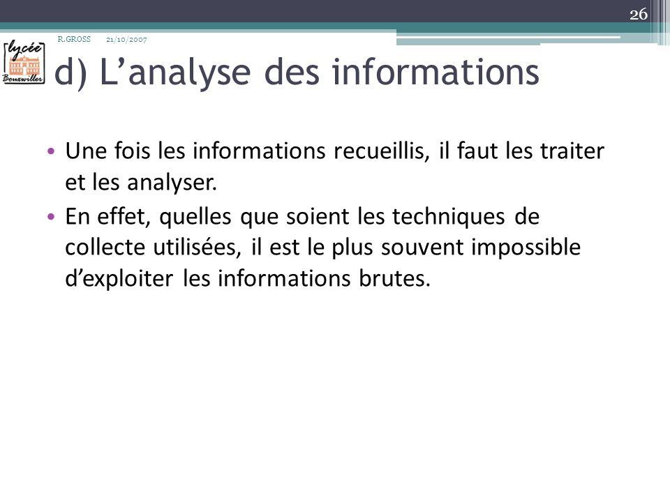 d) Lanalyse des informations Une fois les informations recueillis, il faut les traiter et les analyser. En effet, quelles que soient les techniques de