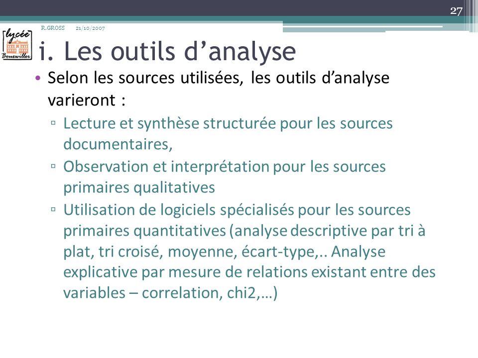 i. Les outils danalyse Selon les sources utilisées, les outils danalyse varieront : Lecture et synthèse structurée pour les sources documentaires, Obs