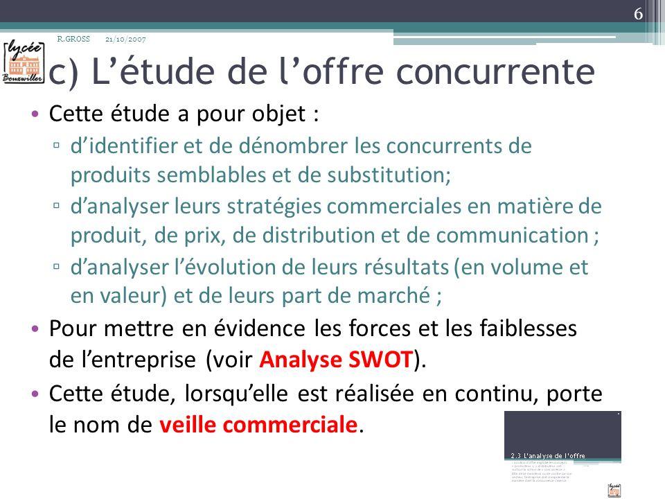 c) Létude de loffre concurrente Cette étude a pour objet : didentifier et de dénombrer les concurrents de produits semblables et de substitution; dana