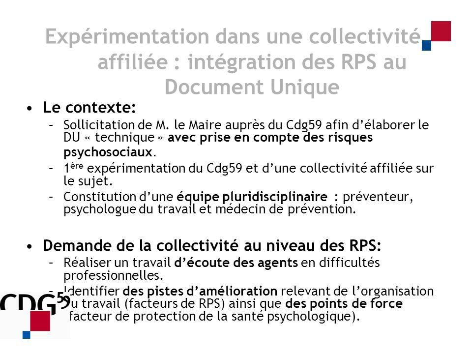 Le contexte: –Sollicitation de M. le Maire auprès du Cdg59 afin délaborer le DU « technique » avec prise en compte des risques psychosociaux. –1 ère e