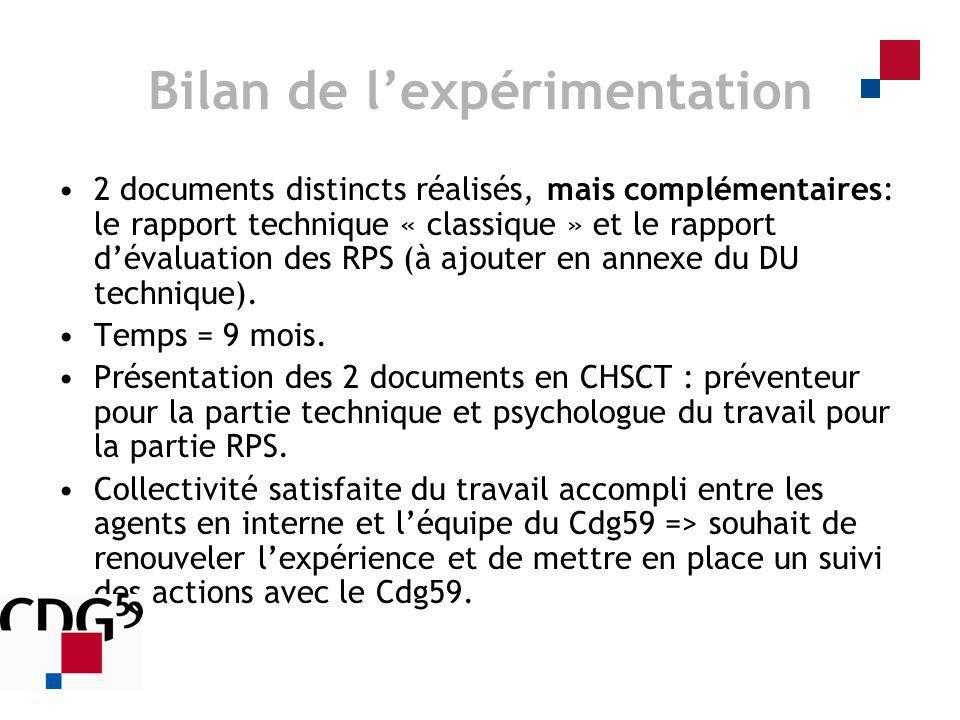 Bilan de lexpérimentation 2 documents distincts réalisés, mais complémentaires: le rapport technique « classique » et le rapport dévaluation des RPS (