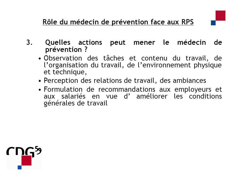 3.Quelles actions peut mener le médecin de prévention ? Observation des tâches et contenu du travail, de lorganisation du travail, de lenvironnement p