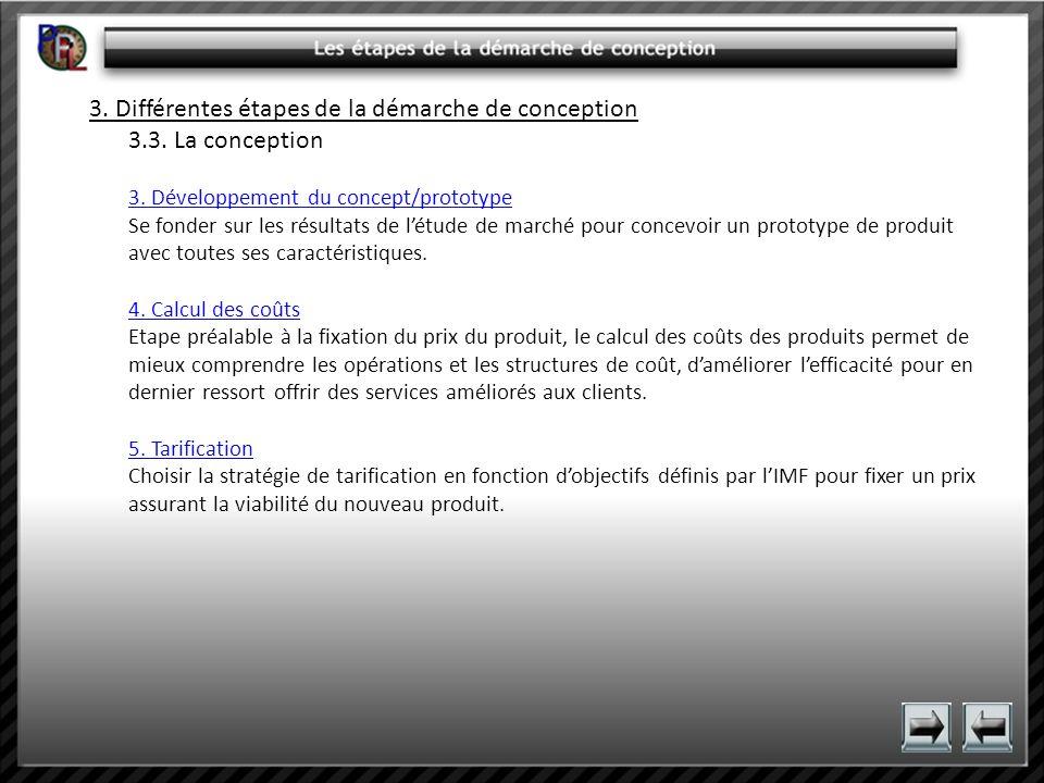 3. Différentes étapes de la démarche de conception 3.3. La conception 3. Développement du concept/prototype 3. Développement du concept/prototype Se f