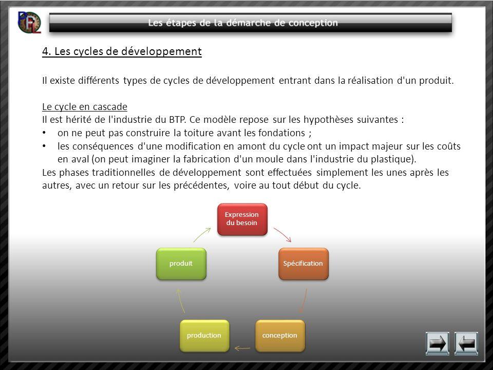4. Les cycles de développement Il existe différents types de cycles de développement entrant dans la réalisation d'un produit. Le cycle en cascade Il