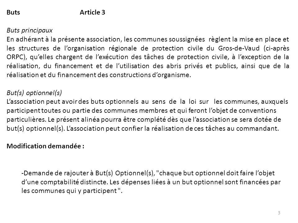 Buts Article 3 Buts principaux En adhérant à la présente association, les communes soussignées règlent la mise en place et les structures de lorganisa