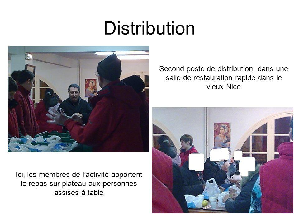 Distribution Second poste de distribution, dans une salle de restauration rapide dans le vieux Nice Ici, les membres de lactivité apportent le repas sur plateau aux personnes assises à table
