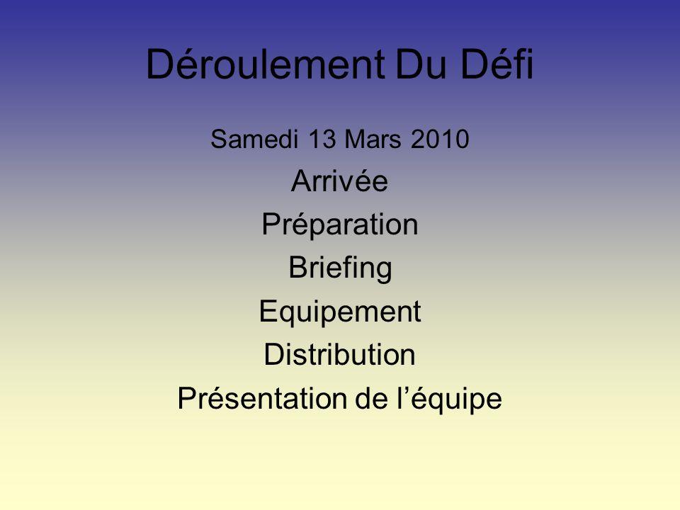 Déroulement Du Défi Samedi 13 Mars 2010 Arrivée Préparation Briefing Equipement Distribution Présentation de léquipe