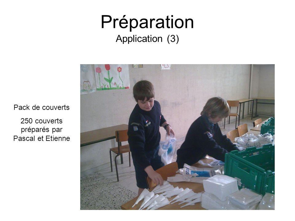 Préparation Application (3) Pack de couverts 250 couverts préparés par Pascal et Etienne